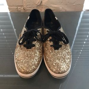 Kate Spade Glitter Keds - Gold - Only Worn Once